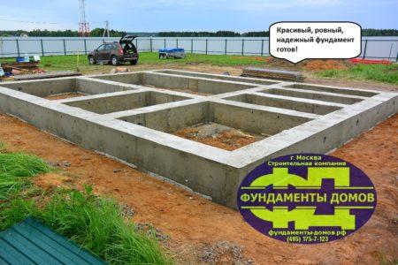Фундамент на буронабивных сваях с ростверком готов