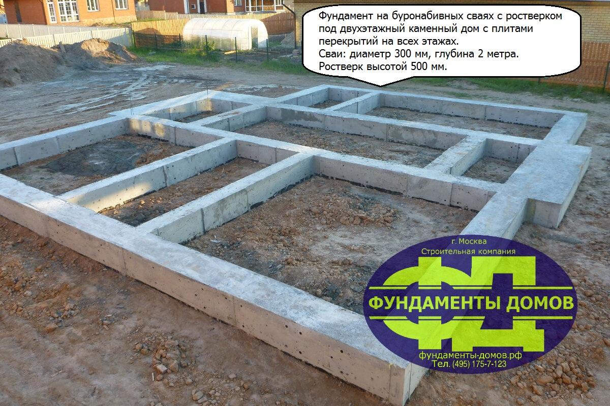 Свайный фундамент под ключ на буронабивных сваях с ростверком Москва и Московская область